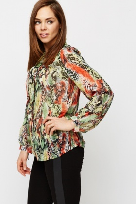 Multi Animal Print Blouse