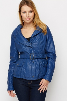 PU Leather Belted Jacket