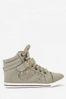 Diamante Encrusted High Top Trainers