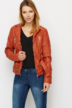 PU Leather Faux Fur Lined Jacket