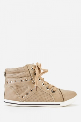 Perforated Trim High Top Trainers