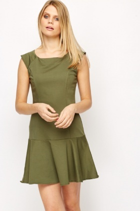 Cotton Blend Ruffle Hem Dress