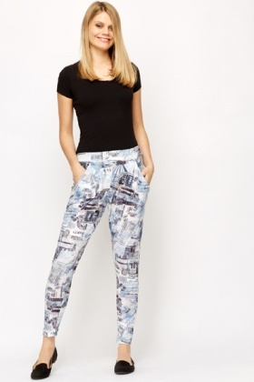 Graphic Print Leisure Trousers