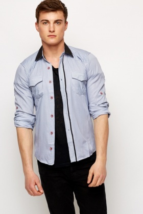 Contrast Collar Shirt