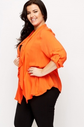 Orange Open Front Cardigan