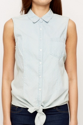 Polka Dot Pearl Tie-Up Shirt