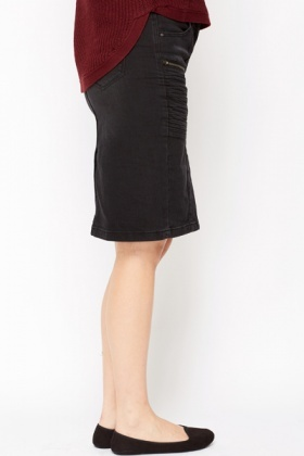 Ribbed Side Denim Skirt