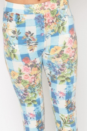 Flower Check Print Leggings
