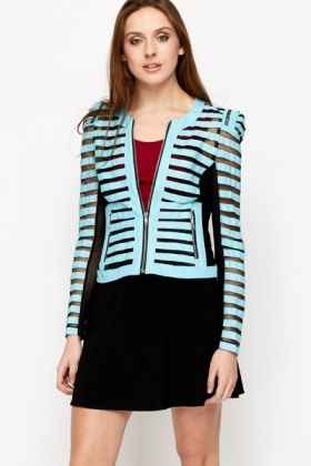 Mesh Insert PU Stripe Fitted Jacket