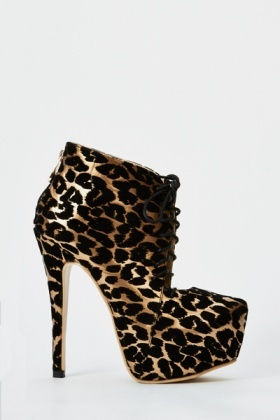 Lace Up Animal Print Heels