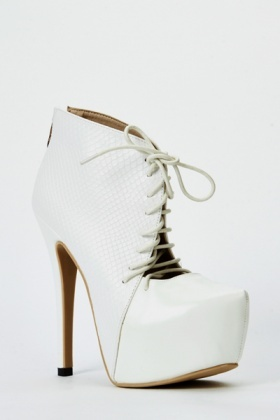 Mock Croc Lace Up Heels