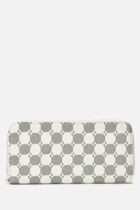 Off White Faux Leather Wallet