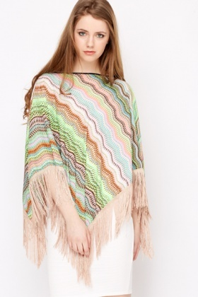Wave Print Sheer Poncho