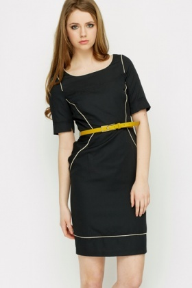 Lined Blend Belted Pencil Dress