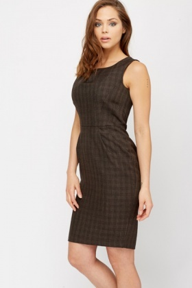 Pleat Neck Office Dress