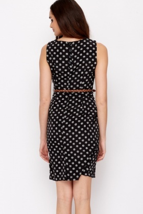 Black Polka Dot Belted Dress