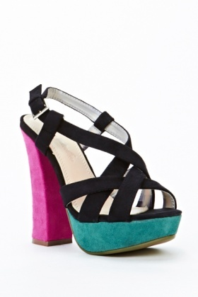 Three Tone Block Heel Sandals