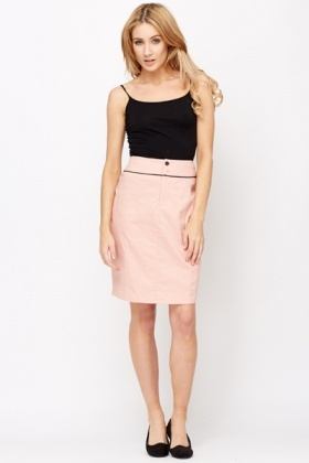 Button Front Cotton Skirt