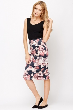 High Waisted Floral Pencil