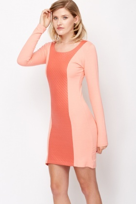 Quilted Panel Bodycon Dress