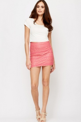 Metallic Lace Mini Skirt
