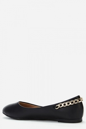 Chain Back Faux Leather Flats