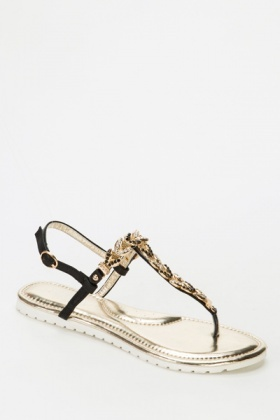 Gold Leaf Embellished Strappy Sandals