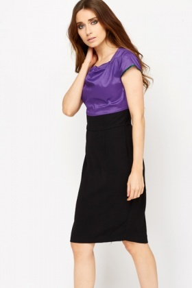 Pleated Neck Contrast Office Dress