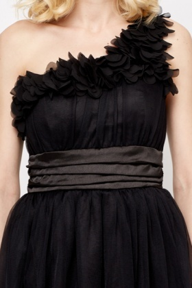 Pleated Waist One Shoulder Prom Dress