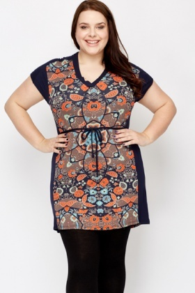 Printed Panel Tunic Dress