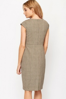 Check Cowl Neck Office Dress