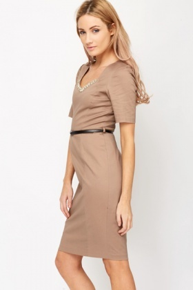 Diamante V-Neck Pencil Dress