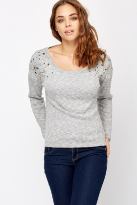 Speckled Embellished Jumper
