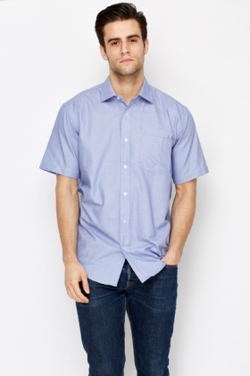 Mens Blue Short Sleeve Shirt
