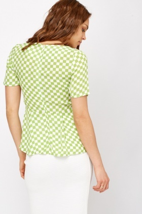 Racer Check Print Top