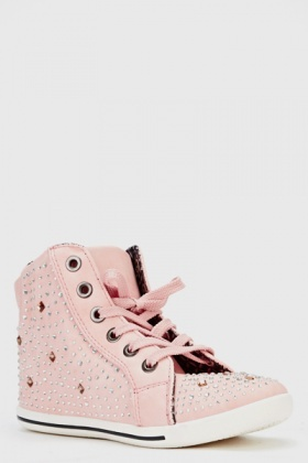Studded High Top Canvas Trainers