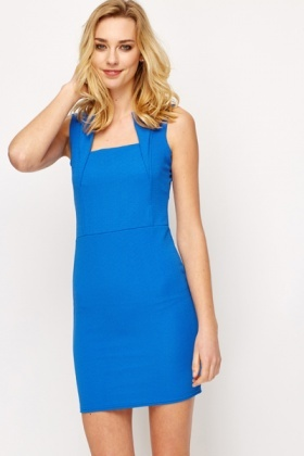 Blue Ribbed Bodycon Dress