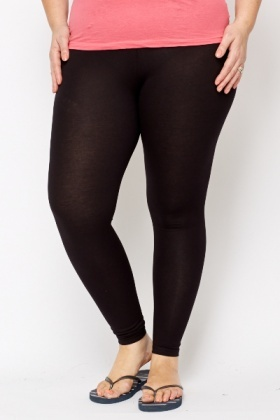 Cotton Blend Black Leggings