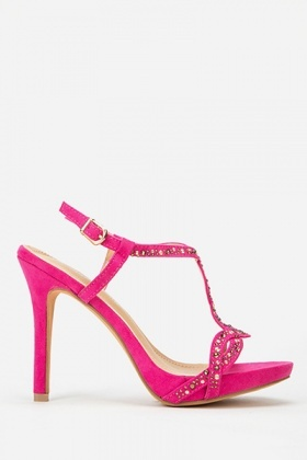 Cross Off Diamante Sandal Heels