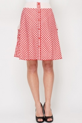 Dotted Trim Check Swing Skirt