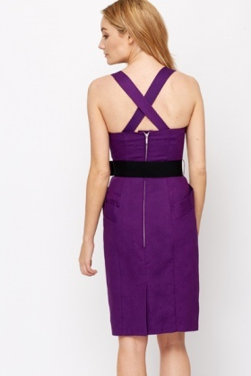 Purple Belted Party Dress