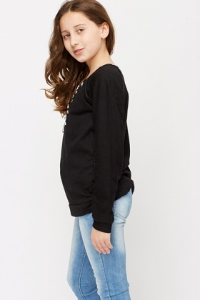 Diamante Encrusted Neck Pullover