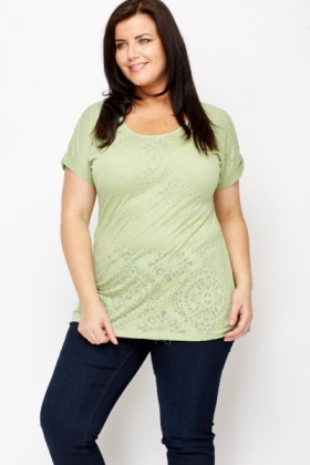 Ornate Print Light Green Top