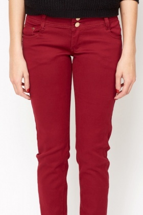 Twin Button Burgundy Trousers
