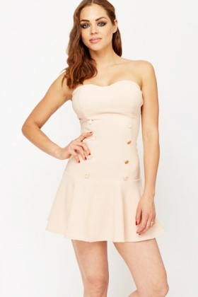 Bandeau Flared Hem Dress