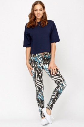 Blue Bamboo Cotton Blend Leggings