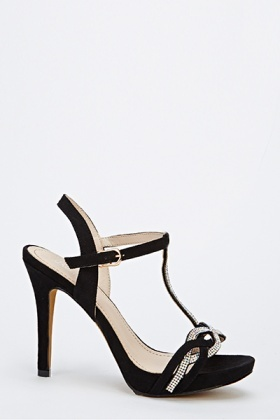 Diamante Cross Over Strappy Heels