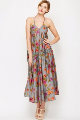 Blurred Floral Maxi Dress