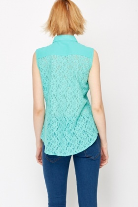 Lace Cotton Sleeveless Shirt
