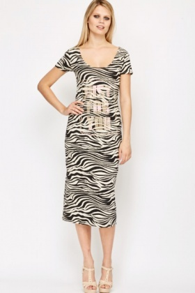 Encrusted Zebra Print Dress